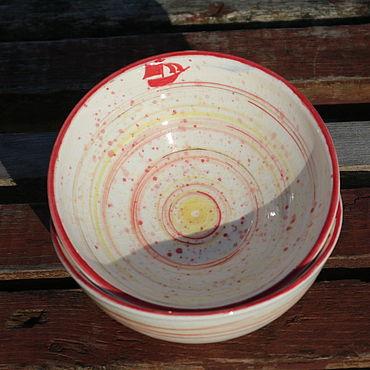 Посуда ручной работы. Ярмарка Мастеров - ручная работа Пиалы парные Алые паруса. Handmade.