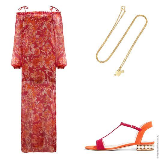 Платья ручной работы. Ярмарка Мастеров - ручная работа. Купить Длинный шелковый сарафан, розовые цветы. Handmade. Цветочный