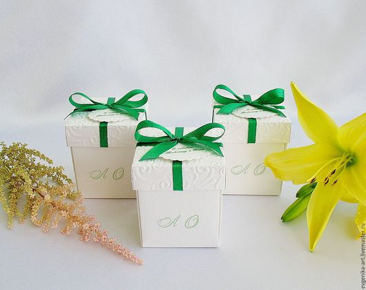 """Свадебные аксессуары ручной работы. Ярмарка Мастеров - ручная работа. Купить Бонбоньерки """"Асель"""". Handmade. Зеленый, коробочка для конфет, коробочка"""