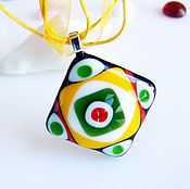 Украшения handmade. Livemaster - original item Glass pendant Fashion geometry. glass. fusing. Handmade.