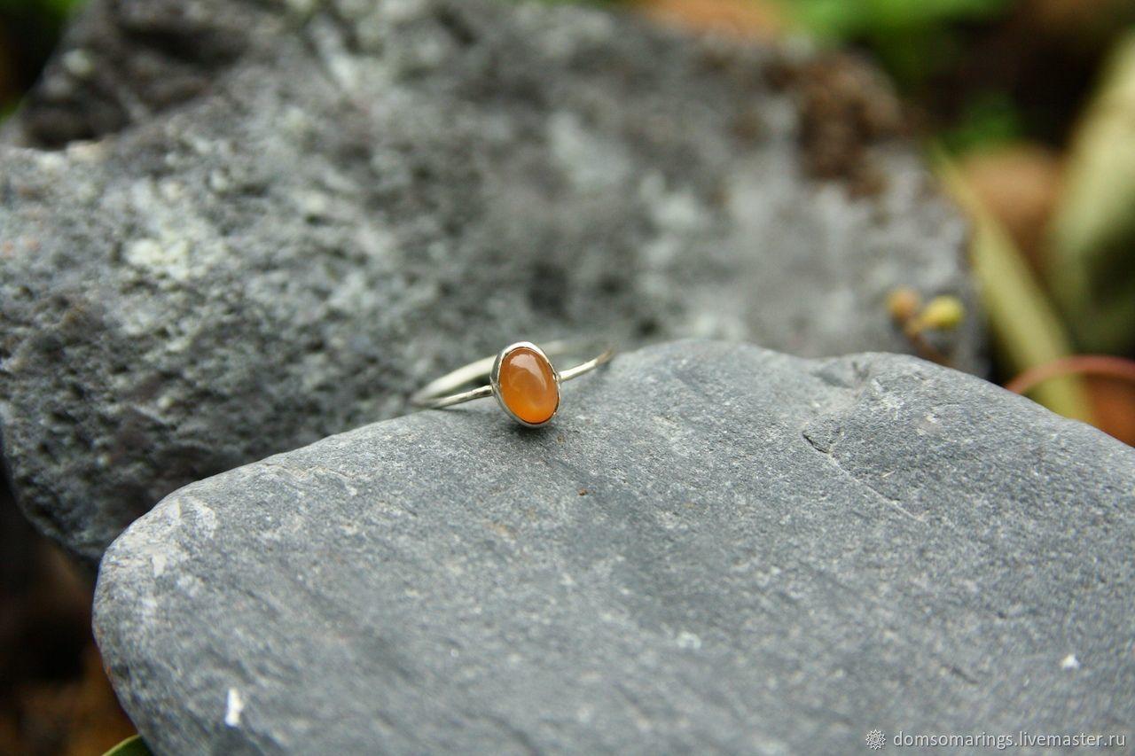 Тонкое колечко из серебра с персиковым лунным камнем(адуляр), Кольца, Санкт-Петербург,  Фото №1