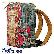Сумки и аксессуары handmade. Livemaster - original item Crocodile Python leather backpack, embroidered backpack for women.. Handmade.