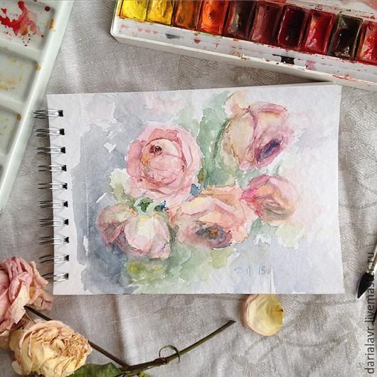 Картины цветов ручной работы. Ярмарка Мастеров - ручная работа. Купить Акварель с розами. Handmade. Бледно-розовый, розы, акварель