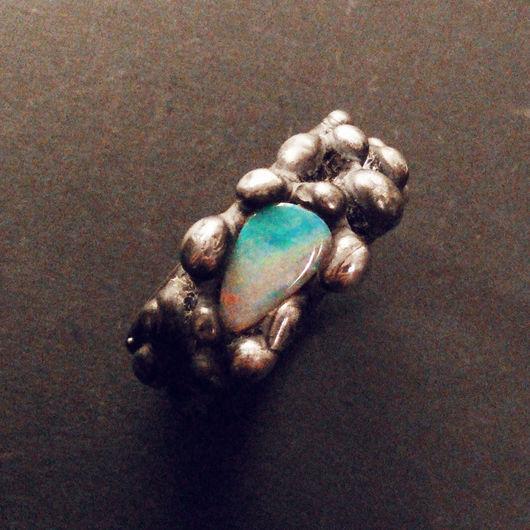 """Кольца ручной работы. Ярмарка Мастеров - ручная работа. Купить Кольцо """"Volcano"""" с натуральным опалом. Handmade. Комбинированный, колье с камнями"""
