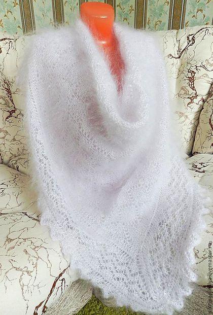 """Шали, палантины ручной работы. Ярмарка Мастеров - ручная работа. Купить """"Белый пепел"""" пуховый платок-шаль. Handmade."""