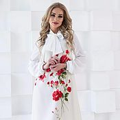 Одежда handmade. Livemaster - original item The dress is elegant, white dress with roses. Handmade.