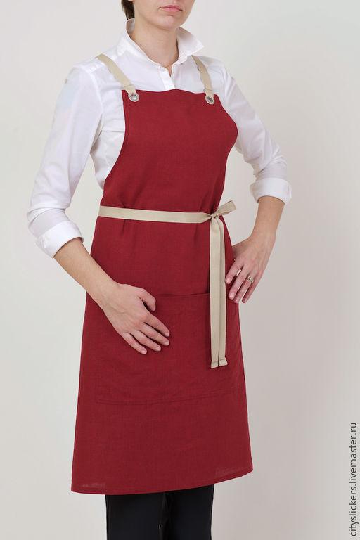 Роскошный малиновый цвет, благородный нежный лен! Изумительное качество пошива! Отличный подарок и себе и всем любителям готовить!