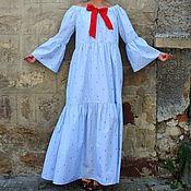 Одежда ручной работы. Ярмарка Мастеров - ручная работа Голубое в горошек длинное летнее макси бохо платье с длинными рукавами. Handmade.