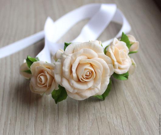 Свадебные украшения ручной работы. Ярмарка Мастеров - ручная работа. Купить Браслет с розами. Handmade. Кремовый, чайные розы