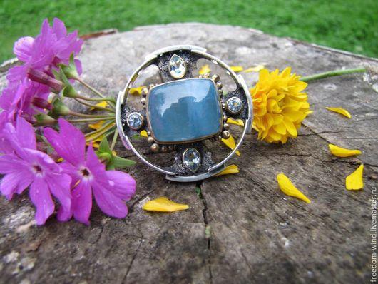 """Кольца ручной работы. Ярмарка Мастеров - ручная работа. Купить """"Голубая лагуна"""". Handmade. Голубой, авторское кольцо, подарок, позолота"""