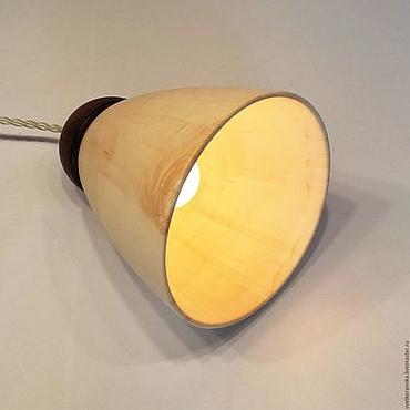 Для дома и интерьера ручной работы. Ярмарка Мастеров - ручная работа Светильник из дерева и керамики «Колокольчик»  (диаметр 15 см). Handmade.