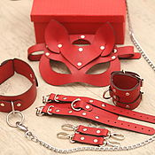 Субкультуры handmade. Livemaster - original item Leather BDSM set (Mask, collar, leash, handcuffs). Handmade.