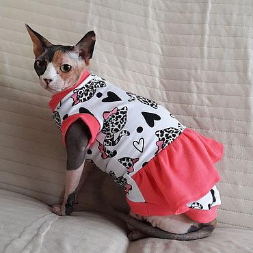 """Товары для питомцев ручной работы. Ярмарка Мастеров - ручная работа Одежда для кошек  майка-платье """"Модная Кошечка"""". Handmade."""