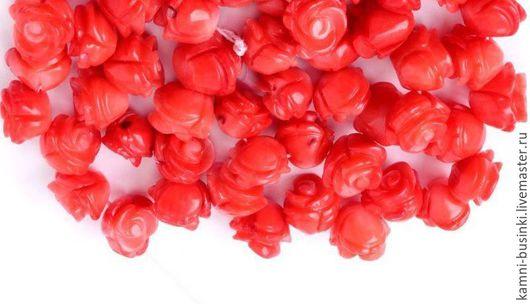 Для украшений ручной работы. Ярмарка Мастеров - ручная работа. Купить Натуральный Коралл резной цветок роза бусины. Handmade.