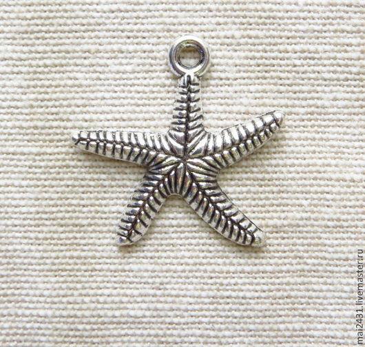 Подвеска морская звезда, античное серебро