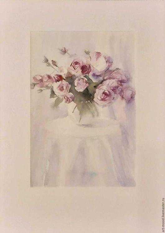 Картины цветов ручной работы. Ярмарка Мастеров - ручная работа. Купить Букет роз в вазе. Handmade. Розовый, картина для интерьера