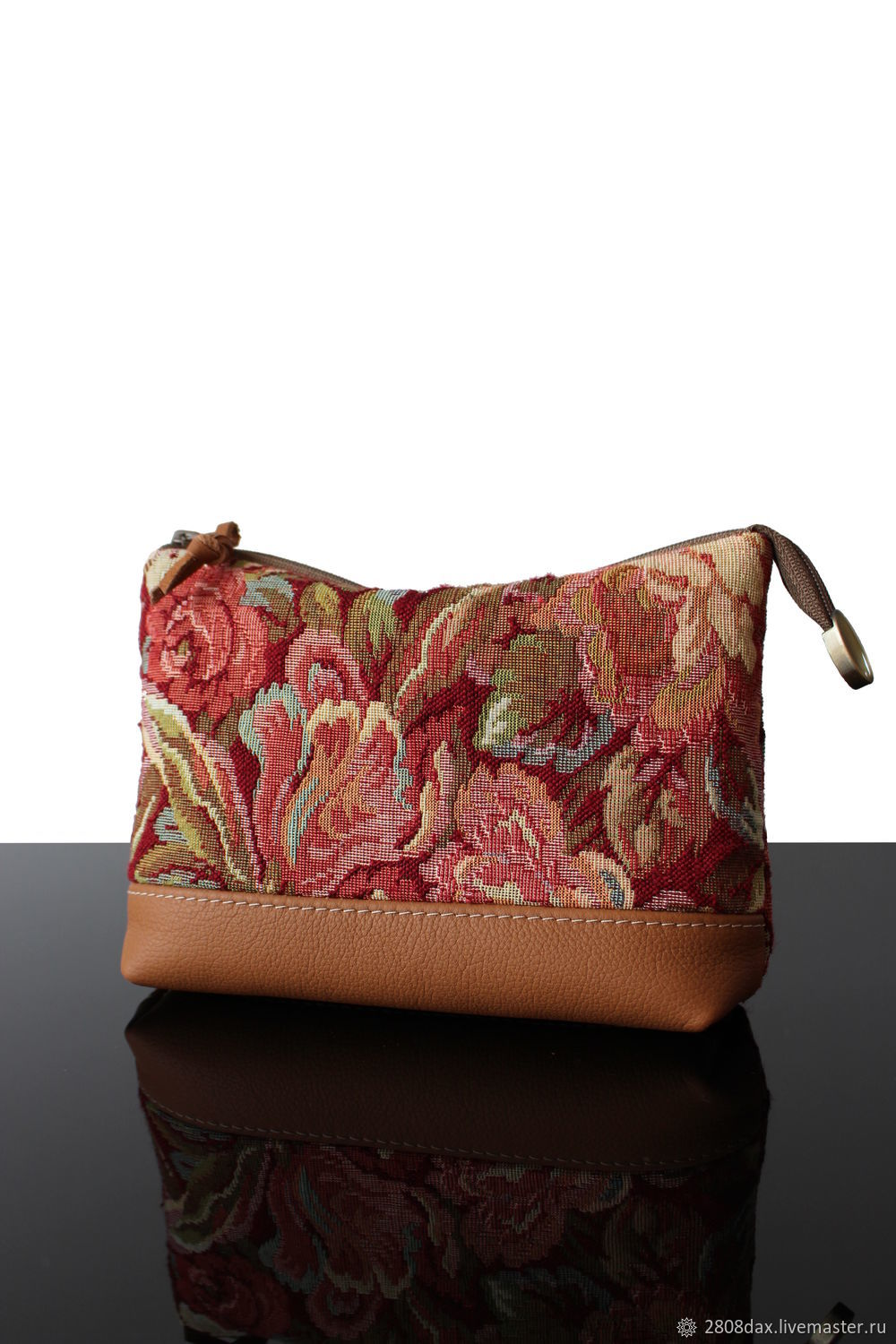 Cosmetic bag made of tapestry and genuine leather, Vintage Flowers, Beauticians, Bordeaux,  Фото №1