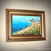 """Картины и панно ручной работы. Ярмарка Мастеров - ручная работа Пейзаж на стекле """"Маки"""" (цена без учета скидки). Handmade."""