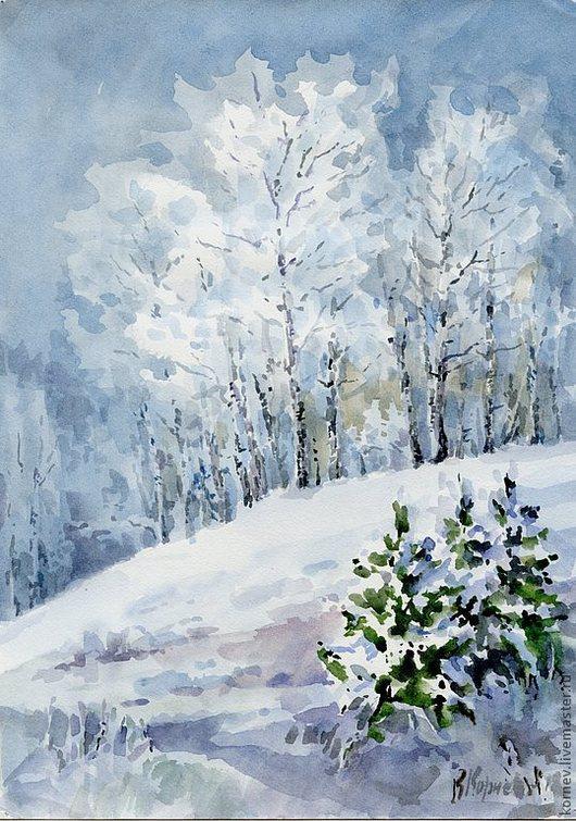 Пейзаж ручной работы. Ярмарка Мастеров - ручная работа. Купить Акварель Морозное утро. Handmade. Снег, зима, сугробы, елки