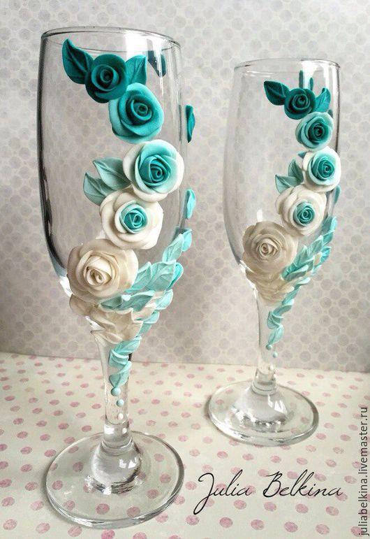Свадебные аксессуары ручной работы. Ярмарка Мастеров - ручная работа. Купить Свадебные бокалы. Handmade. Комбинированный, флористическая композиция