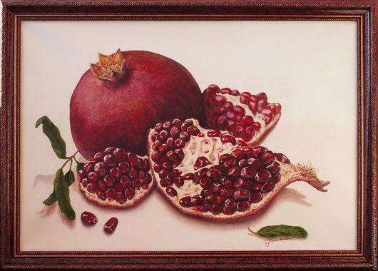 """Натюрморт ручной работы. Ярмарка Мастеров - ручная работа. Купить """"Любимый фрукт"""", гранаты, картина маслом, натюрморт. Handmade. Бордовый"""