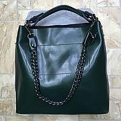 Классическая сумка ручной работы. Ярмарка Мастеров - ручная работа Женская кожаная сумка на плечо зелёная. Handmade.