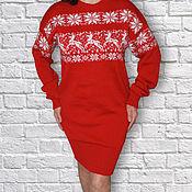 Одежда ручной работы. Ярмарка Мастеров - ручная работа Платье шерстяное вязаное с оленями в рисунке красное. Handmade.