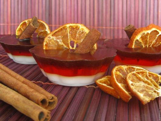 """Мыло ручной работы. Ярмарка Мастеров - ручная работа. Купить Мыло-пирожное """"Апельсин с корицей"""". Handmade. Коричневый, апельсин"""
