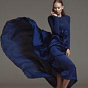 Одежда ручной работы. Ярмарка Мастеров - ручная работа Темно-синее летящее платье. Handmade.