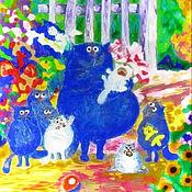 Витражный светильник Дружная семейка. Синие коты Рины Зенюк.