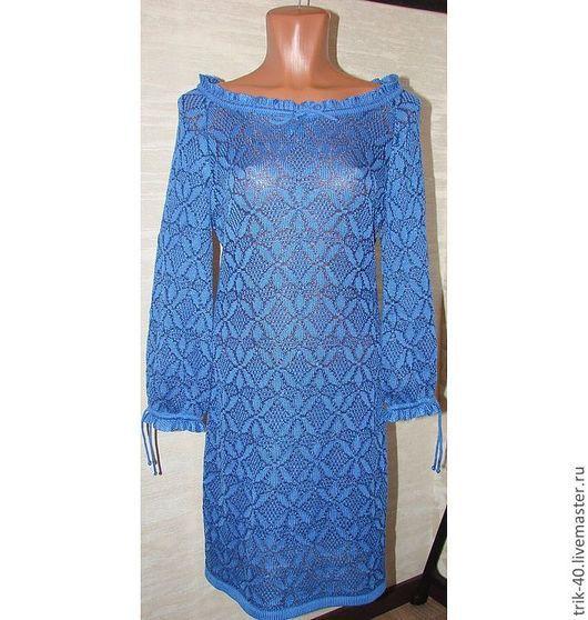 """Платья ручной работы. Ярмарка Мастеров - ручная работа. Купить Платье """"Модница"""". Handmade. Синий, вязаное платье, любой размер"""