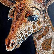 """Картины и панно ручной работы. Ярмарка Мастеров - ручная работа """"Жирафик"""" Картина маслом Животные. Handmade."""