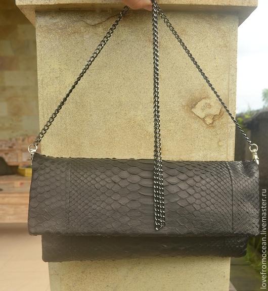 Женские сумки ручной работы. Ярмарка Мастеров - ручная работа. Купить Вечерняя сумочка из натуральной кожи питона. Handmade. Черный