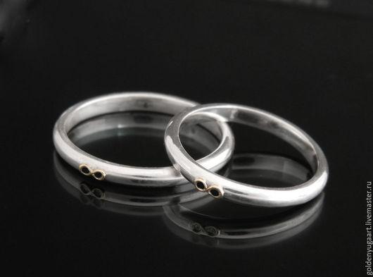Кольца ручной работы. Ярмарка Мастеров - ручная работа. Купить Обручальные кольца Infinity, серебро 925 пробы. Handmade. Кольцо
