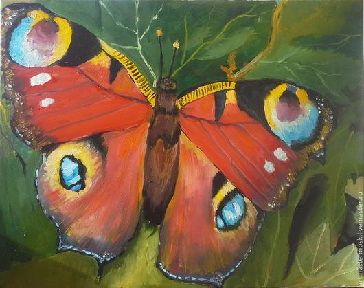 Животные ручной работы. Ярмарка Мастеров - ручная работа. Купить Бабочка. Handmade. Живопись на холсте, зеленый, бабочка на траве