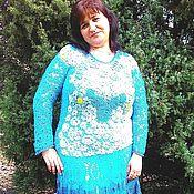 Платья ручной работы. Ярмарка Мастеров - ручная работа Платье вязаное Цветочная поляна. Handmade.