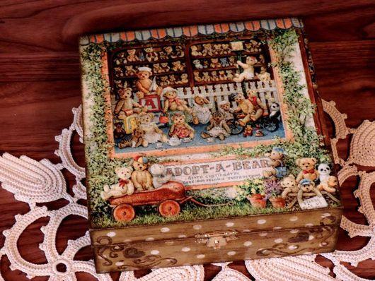 """Шкатулки ручной работы. Ярмарка Мастеров - ручная работа. Купить Шкатулка """"Усыновите мишку!"""" (декупаж). Handmade. Коричневый, подарок женщине"""