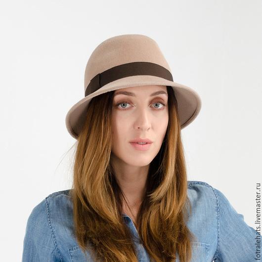 Шляпы ручной работы. Ярмарка Мастеров - ручная работа. Купить Шляпа федора бежевого цвета фетровая из пуха кролика. Handmade.