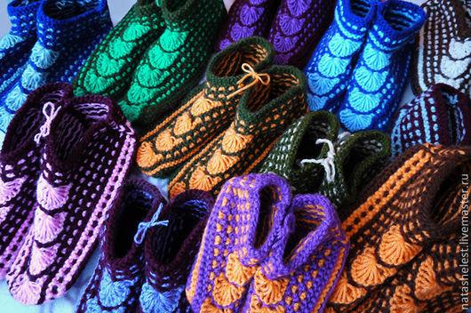 Следки для дома. Ручная вязка. Удобная домашняя обувь разных размеров.