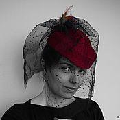 """Аксессуары ручной работы. Ярмарка Мастеров - ручная работа Шляпа таблетка """"Красное и черное"""". Handmade."""