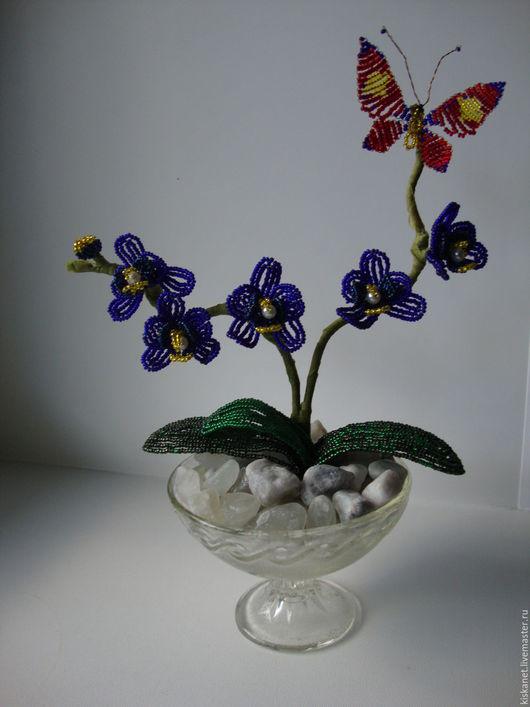 Искусственные растения ручной работы. Ярмарка Мастеров - ручная работа. Купить Орхидея с бабочкой. Handmade. Тёмно-синий