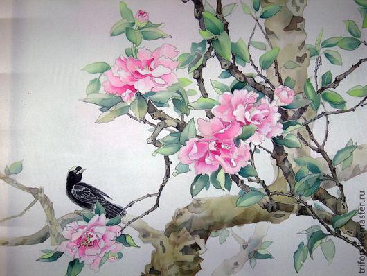 Интерьерные слова ручной работы. Ярмарка Мастеров - ручная работа. Купить роспись по шелку по мотивам китайской живописи. Handmade. цветы