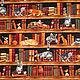 Шитье ручной работы. Ярмарка Мастеров - ручная работа. Купить Американский хлопок  КОШКИ В БИБЛИОТЕКЕ. Handmade. Ткань для творчества