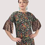 Одежда handmade. Livemaster - original item Floral print dress with velvet pleat trim. Handmade.