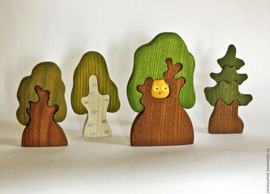 Развивающие игрушки ручной работы. Ярмарка Мастеров - ручная работа. Купить 4 Дерева, набор. Деревянные развивающие игрушки.. Handmade.