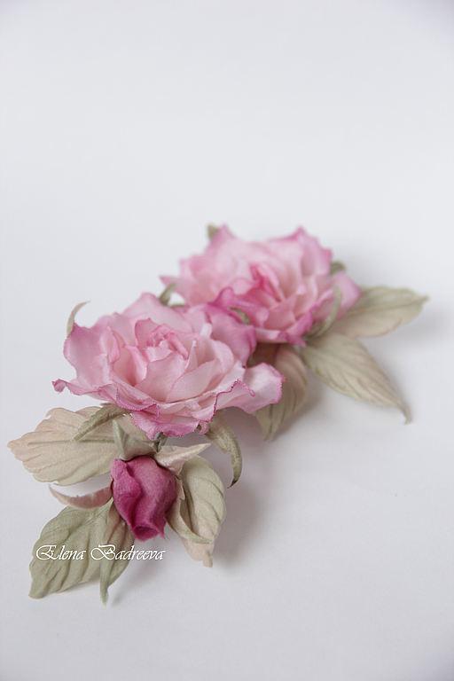 """Броши ручной работы. Ярмарка Мастеров - ручная работа. Купить Розы """"Прованс"""". Handmade. Розовый, брошь-цветок, выпускное платье"""