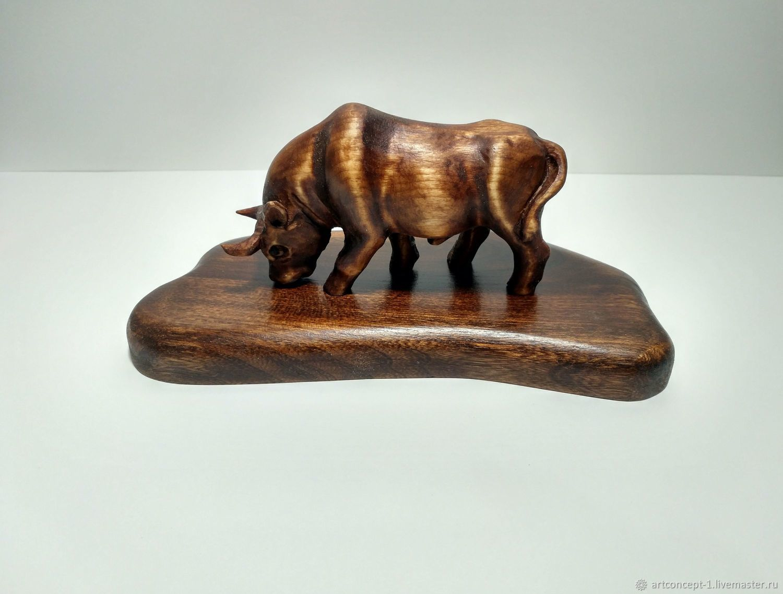Wood figurine statuette carved miniature Bull symbol of 2021, Figurines, Ryazan,  Фото №1