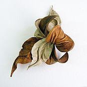 Сумки и аксессуары handmade. Livemaster - original item Brooch flower leather Orchid