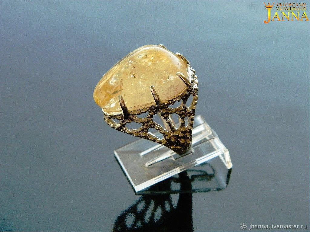 citrine. ' Honey' ring with natural citrine, Rings, Volgograd,  Фото №1