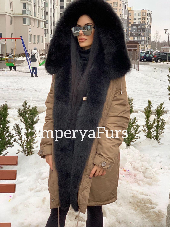 Парка капучино с мехом цельного песца!, Парки, Москва,  Фото №1
